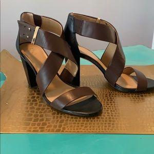 Ann Taylor Brown Strappy Heels